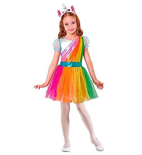 shoperama Unicorn Einhorn Regenbogen Mädchen Kostüm Kleid Kinder-Kostüm Glitzer Tüll Haarreif Petticoat Kleinkind Karneval, Größe:158
