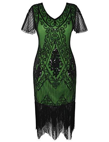 PrettyGuide Damen 1920er Charleston Kleid Pailetten Cocktail Flapper Kleid Mit Ärmel XXL Schwarz Grün