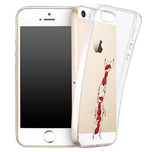 OOH!COLOR® Design Case für iPhone 5 / 5S / SE mit Motiv MPA147 weiß Punkte modisch stilvoll Silikon Hülle elastisch Schutzhülle Transparent Case Luxus Cover Slim Etui APL007 Ameisen