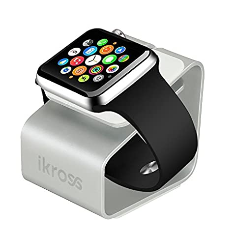 iKross Station d'Accueil en Aluminium Antidérapante pour Apple Watch 38mm et 42 mm , Nightstand, Station de Charge, Support pour Apple Watch Sport/ Edition -