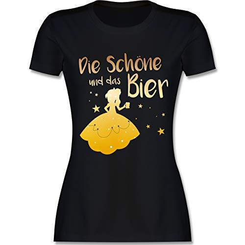 Typisch Frauen - Die Schöne und das Bier - L - Schwarz - L191 - Damen Tshirt und Frauen T-Shirt
