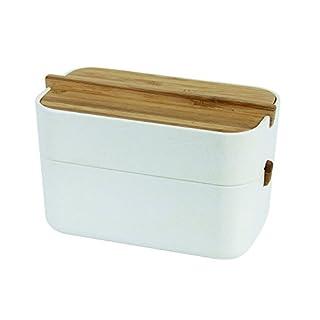 Lexon LH42W Zen Cotton Box, Bambou, Blanc, 15,4 x 8,4 x 9,4 cm
