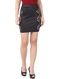Alibi Black Printed Knitted Skirt