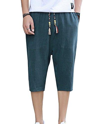 LaoZanA Bermudas Hombre Pantalones Cortos Chinos Pantalones Anchos Baggy  Casual Transpirable Pantalones De Lino Verde… a277f56d21ce