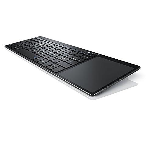 CSL - Wireless Slim Tastatur mit Touchpad | 2,4 Ghz Funk Multimedia Keyboard im Slim Design | Multitouch-Gestensteuerung | QWERTZ | 80 Tasten | Neues Modell 2017 inkl. USB-Verlängerungskabel | schwarz