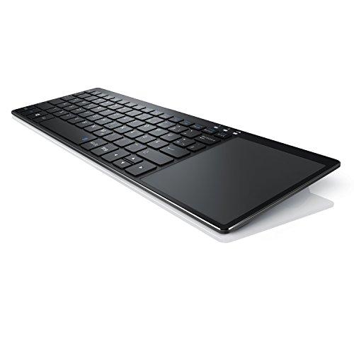 Touchpad Tastatur Wireless Mit (CSL - Wireless Slim Tastatur mit Touchpad | 2,4 Ghz Funk Multimedia Keyboard im Slim Design | Multitouch-Gestensteuerung | QWERTZ | 80 Tasten | Neues Modell 2017 inkl. USB-Verlängerungskabel | schwarz)
