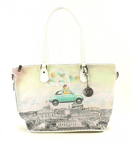 Y NOT? donna borsa shopping con tracolla H-396 FUR Giallo
