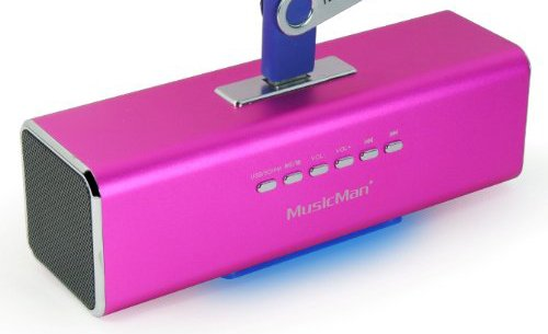 MusicMan MA Lautsprecher (MP3-Player, Soundstation & Radio, USB, Line-In) pink