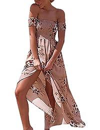 Aitos Femmes Robe de Plage D'été Longue Amincissant Maxi Robe Bustier Rétro Sundress Imprimé Fleur Épaules Nue