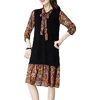 ALUK- Vestido largo de dos piezas con estampado de primavera y otoño ( Color : Caramel , Tamaño : One Size )
