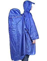 asmaza (TM) nueva 4colores BlueField mochila cubierta de una pieza impermeable Poncho Lluvia Al Aire Libre Senderismo Camping Unisex, azul oscuro