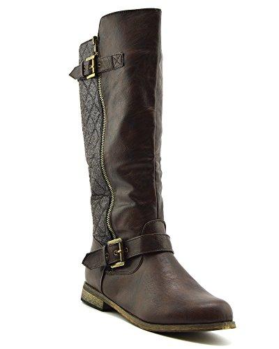 Kick Footwear Donne di Alti al Ginocchio Tacco Piatto Zip Inverno Equitazione da Biker Scarpe Marrone