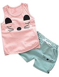 Jimmackey 2pcs Neonato Ragazzi Gilet T-Shirt Stampa Gatto Camicia Cime +  Pantaloncini Abiti Set d1aafb3a1646