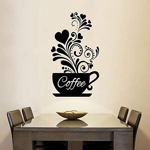YiniKape Blumen-Rebe Kaffeetasse-Wandaufkleber für Cafe Restaurant Dekoration Tattoo Tapeten Hand geschnitzt Küche Aufkleber -