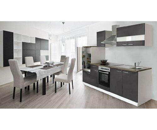 respekta Küchenzeile 270 cm weiß grau Ceran - mit APL Nussbaum (Nachbildung) KB270WGC