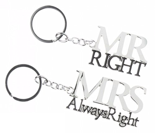 *'Mr Right & Mrs Always Right' – Amore Set Of 2 Silver Plated Keyrings*