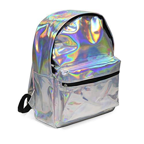 Mädchen Rucksack, Zicac Damen Schulrucksack Holo Holographic Backpack Glitzer für Teenager Frauen mit Laser Silber Daypack für Schul