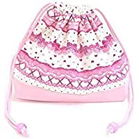 Drawstring Gokigen lunch in the race and patterns (medium size) with gusset lunch bag ribbon Pretty cute (white) x Ox pink made in Japan N3460400 (japan import) preisvergleich bei kinderzimmerdekopreise.eu