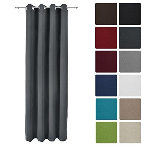 Beautissu Blackout-Vorhang Amelie mit Ösen - 140x245 cm Anthrazit (Grau) Uni - Verdunklungsgardine Ösenschal Blickdicht