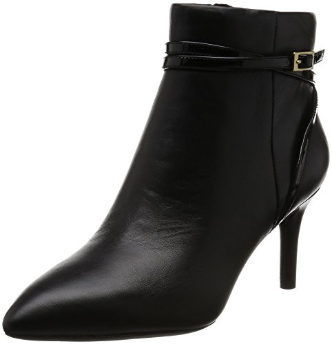 Rockport Damen Total Motion 75mm Pointy Toe Pump Strap Bootie Kurzschaft Stiefel Schwarz (BLACK LTHR)