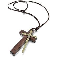 0a06bad949f Sungpunet Collar con colgante de madera de aleación para hombre