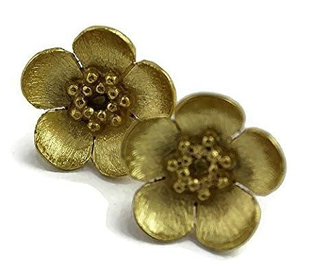Sophia roses Plaqué argent Sterling 925 Bouton d'or-Boucles d'Oreilles Clous-Plaqué Or