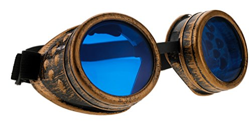 4sold Steampunk Blue Lenses Black Cyber Goggles Rave -
