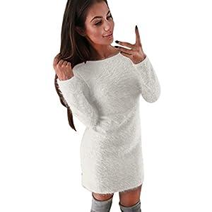 Vestito Donna , feiXIANG® Donne inverno manica lunga maglione solido pile caldo Basic Short mini abito , acrilico , moda , 155-175g (Bianco, M)