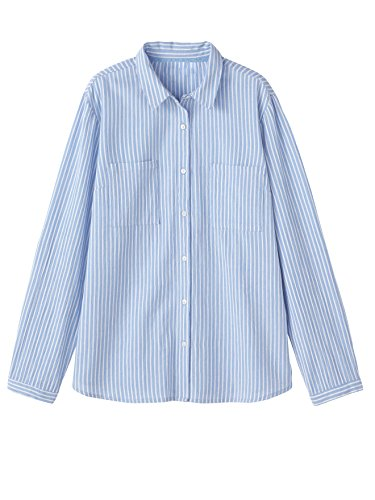 Balsamik - Camicia crépon a righe, seno standard - donna - Size : 56 - Colour : Righe blu/bianco