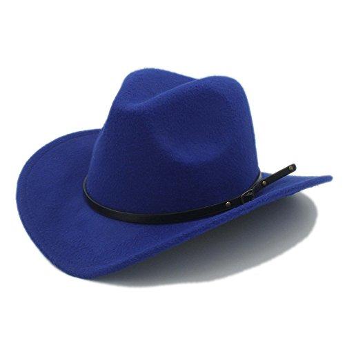 M.J.ZUR Männer Western Cowboy Hut Für Gentleman Cowgirl Jazz Church Cap Mit Leder Toca Sombrero Cap Resistol Cowboy Hüte (Farbe : 5, Größe : 57-58 cm) -