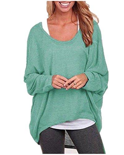 ZANZEA Mode Lâche Femme Shirt en Chauve-souris Manches Irrégulier Jumper Tops Hauts Vert