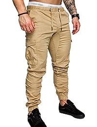 SOMTHRON Uomo Cintura elastica in cotone lungo da jogging Pantaloni sportivi  taglie forti Pantalone sportivo da 9c9d6ef0a028