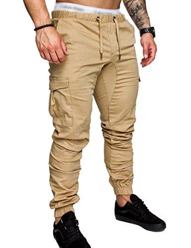 c87fdc09ce SOMTHRON Hombre Cinturón de cintura elástico Pantalones de chándal de  algodón largo Jogging Pantalones de carga