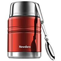 Newdora Food Flask Insulated Stainless Steel Food Jar with Folding Spoon, Braised Beaker, Bag-Vacuum Double Walled BPA Free,Unbreakable,Leak Proof 17 Ounce (Red)