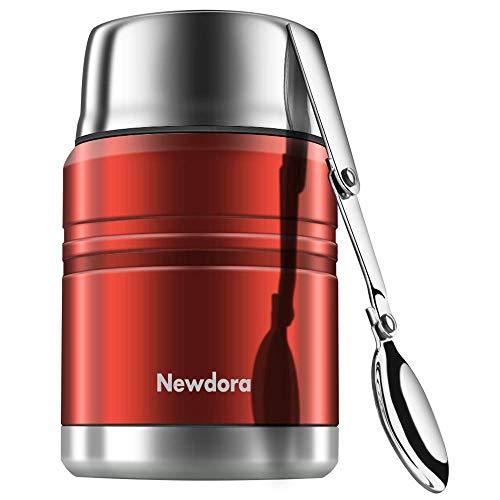 Newdora Food Flask Thermosspeisebehälter Edelstahl Isolierte Essensbehälter mit Faltlöffel, Geschmolzener Becher, Beutel-Vakuum-Doppelwandig BPA-frei, unzerbrechlich, auslaufsicher 17 Unze (Red)