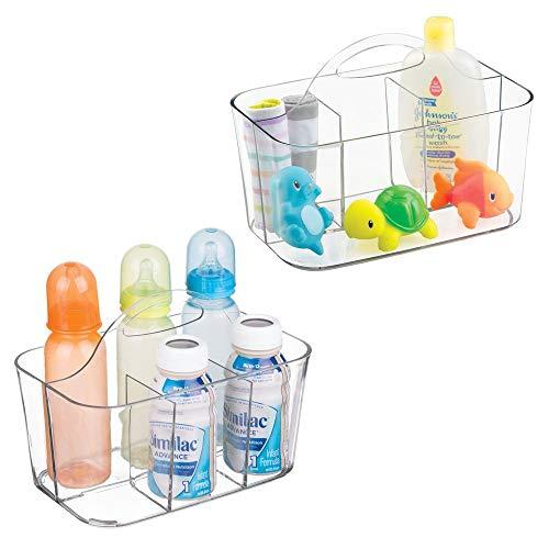 mDesign 2er-Set Aufbewahrungsbox Kinderzimmer mit 4 Fächern z. B. zur Babynahrung Aufbewahrung - Ordnungssystem aus Kunststoff für Babyzubehör & Co. - mit Griff zum Transportieren - durchsichtig (Kinder-spielzeug-organizer-ablagen)