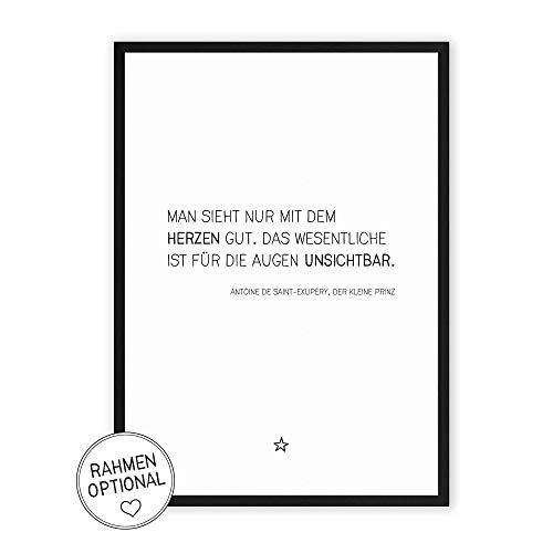Kleine Prinz - Zitat - Kunstdruck mit Spruch auf wunderbarem Hahnemühle Papier DIN A4 -ohne Rahmen- schwarz-weißes Bild Poster zur Deko im Büro/Wohnung/als Geschenk Saint-Exupery (Bad Für Das Schwarz-wand-kunst)