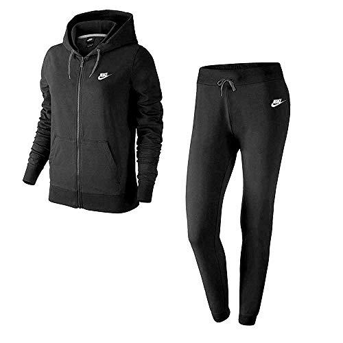 Nike W NSW TRK FLC Chándal, Mujer, Negro (Black/White), M