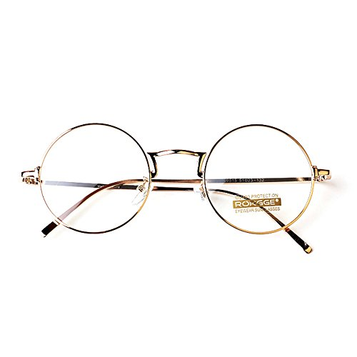 1920s Nerd Brille filigran rund Glasses Klarglas Hornbrille treber 15R95 Gold