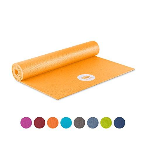 Lotuscrafts Yogamatte Mudra STUDIO | Für Anfänger und Fortgeschrittene | Yogamatte rutschfest schadstofffrei in vielen Farben | für Yoga Pilates, Entspannung und Training (Safran Gelb)