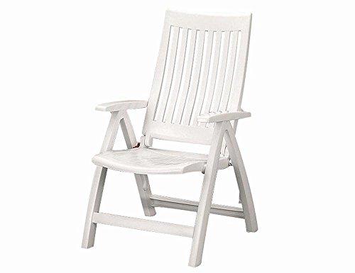 Kettler Gartenstuhl Hochlehner - stabiler Klappsessel für den Garten - Rückenlehne mehrstufig verstellbar - wetterfeste & robuste Terrassenmöbel - aus beständigem Kunststoff - weiß