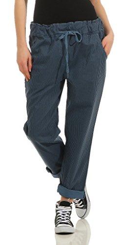 205 Damen Hose leichte Freizeithose Stoffhose elegante Haremshose im Marine Streifen Look für den Sommer mit Tunnelzug Blau-Schwarz
