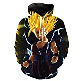 Cosstars Dragon Ball Anime Hoodie Sudadera con Capucha Adulto Cosplay 3D Impreso Pullover Sudadera con Bolsillos Cordón 9 XXL