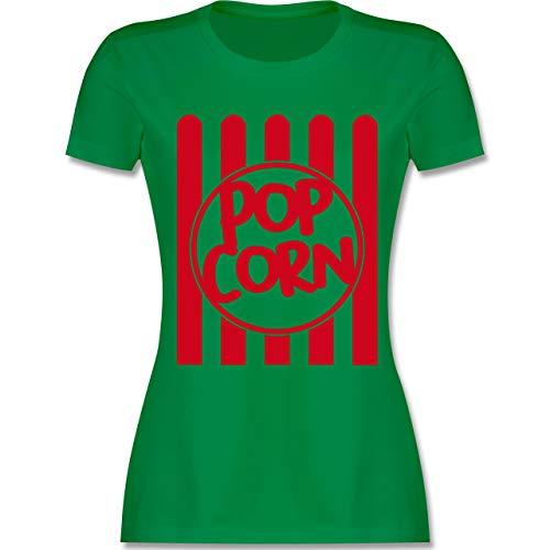 Karneval & Fasching - Popcorn Karneval Kostüm - XL - Grün - L191 - Damen Tshirt und Frauen T-Shirt (Damen Lustig Kostüm)