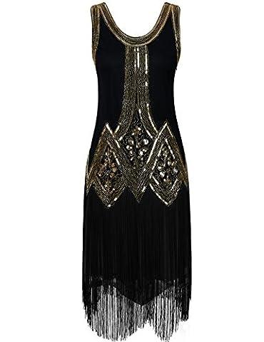 PrettyGuide Femme Années 1920 Vintage Perle Frange Inspired Robe Charleston XS Or