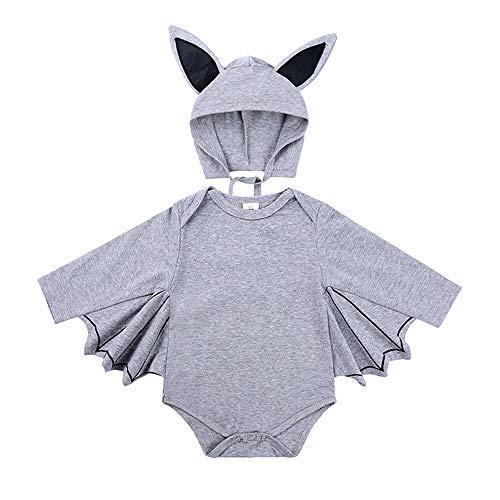 Party House Kostüm Animal - CXZM Halloween Party Animal Kostüm - Kinder Bequeme Süße Fledermaus Overall - Grau (100)