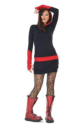 Hoodiekleider Winterkleid Damen langarm Kapuzen Kleid Kapuzenkleid Minikleid Jerseykleid kurz Daumenloch 3 Elfen, schwarz rot M (Schwarze Kapuzen Kleid)