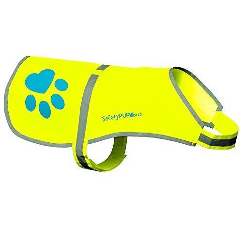 SafetyPUP XD Hund Warnweste, Größen passen Hunde 14 lbs bis 130 lbs Neon Gelb Mittel