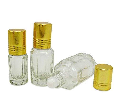 3 ml rouleau balle clair rouleau de verre vide sur les bouteilles flacons roulants huiles essentielles d'aromathérapie rechargeables gros roll-on bouteille de parfum de 12 pcs