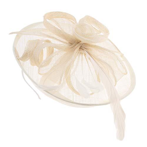 Baoblaze Damen Fascinator Haarschmuck Braut Haarreif Kopfschmuck Kopfbedeckung Haarband Great Gatsby Fasching Kostüm Accessoires - Beige
